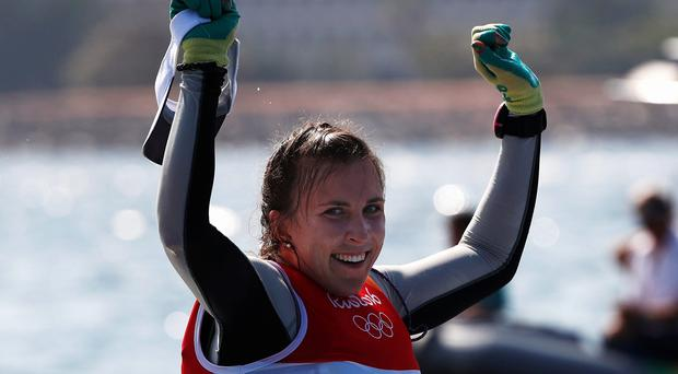 Annalise Murphy of Ireland celebrates winning the silver medal in the Women's Laser Radial class on Day 11 of the Rio 2016 Olympic Games at the Marina da Gloria on August 16, 2016 in Rio de Janeiro, Brazil. (Photo by Clive Mason/Getty Images)