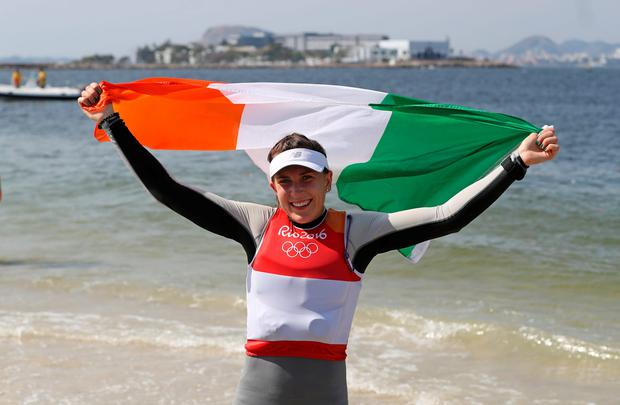 Ireland's Annalise Murphy celebrates silver medal in the women's Laser Radial on the eleventh day of the Rio Olympic Games, Brazil. PA