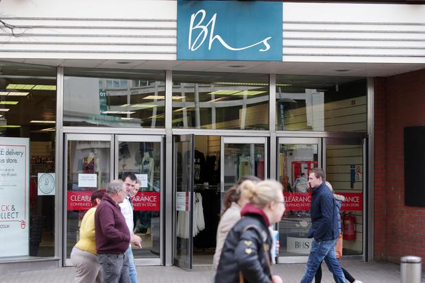 Shoppers pass by BHS in Belfast