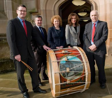 Reaching out: Danny Murphy (far right) at a cultural event with (from left) Lambeg drummer Mark Anderson, Professor Richard Barnett, Magee University, former Culture Minister Caral Ni Chuilin, and Professor Deirdre Heenan, Provost of Magee