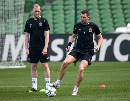 Euro stars: Former Portadown defender Brian Gartland (right) trains at the Aviva with Dundalk team-mate Chris Shields