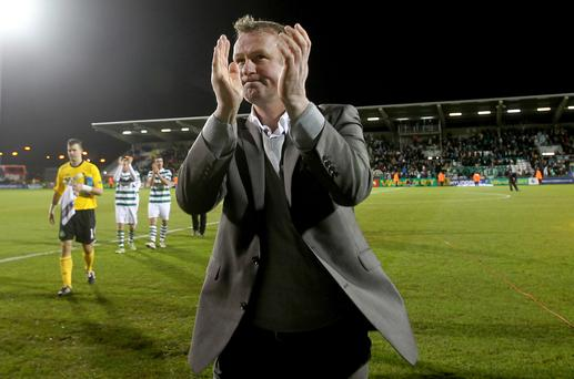 Rovers and out: Michael O'Neill applauds the fans after Shamrock Rovers took on Spurs in the Europa League back in 2011
