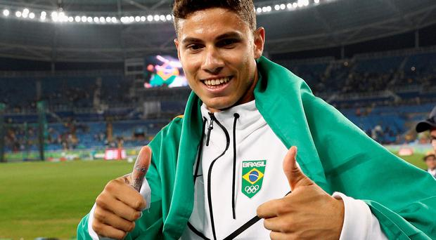 Thumbs up: Thiago Braz da Silva is now a Brazilian hero
