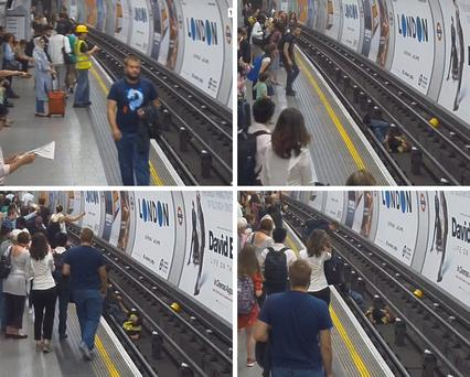 Undated handout images issued by British Transport Police showing (in sequence clockwise from top left) a brave passenger who put his life in danger to jump onto live Tube tracks and pull a man to safety. PA