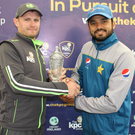 Prize guys: William Porterfield and Azhar Ali with the ODI title on offer