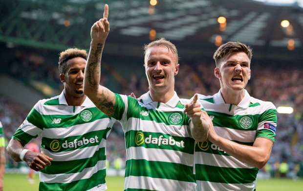 Glee for Lee: Celtic striker Lee Griffiths scored twice in the Hoops' 5-2 victory