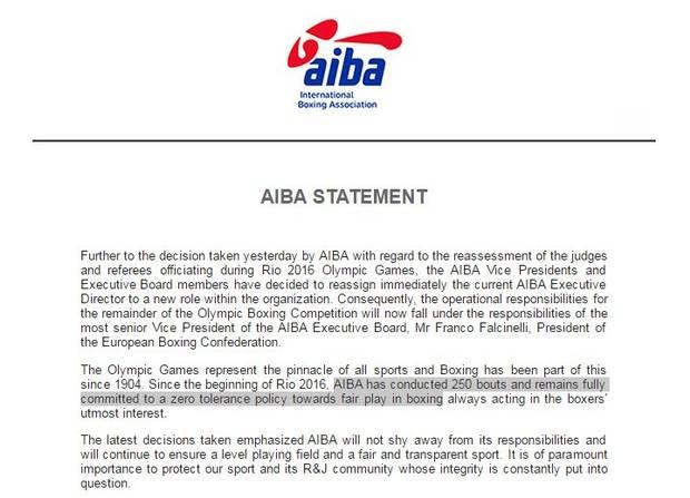 AIBA have released a second statement in two days
