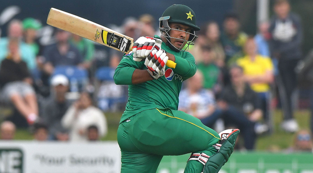 Front foot: Pakistan's Sharjeel Khan goes on the offensive at Malahide yesterday