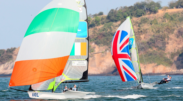 Setting sail: NI duo Matt McGovern and Ryan Seaton, representing Team Ireland, in action in the medals race in Rio, in which they came ninth to finish 10th overall
