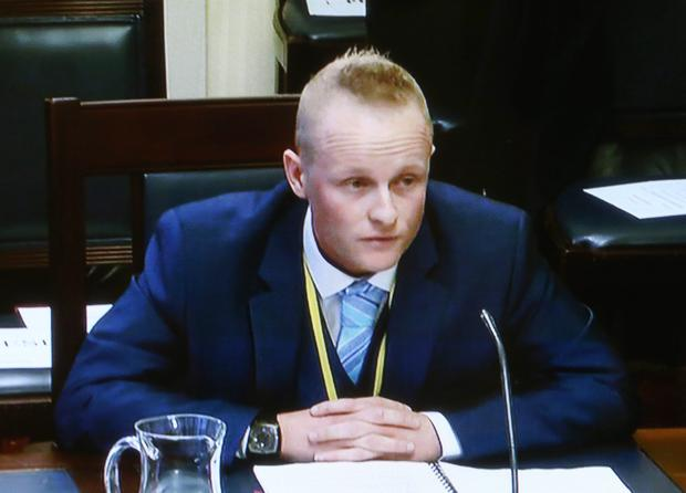 Jamie Bryson giving evidence at the Assembly's finance and personnel committee