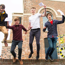 Omar Helmy, Stuart McCaughan , Carson McKee and Dylan Braithwaite of RBAI celebrate their exam results