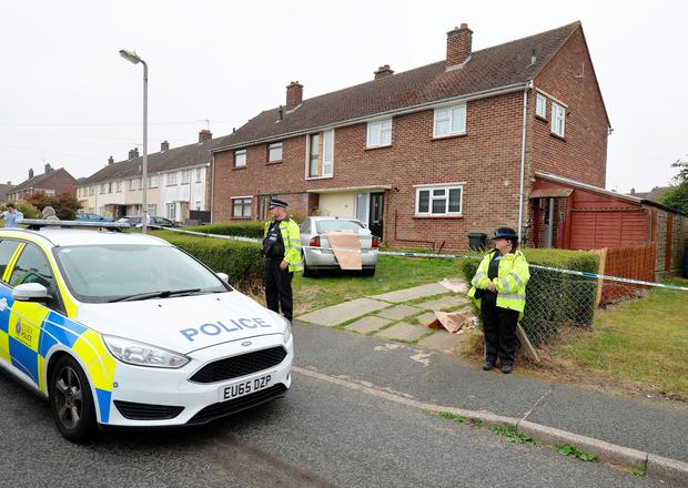 Police outside a property in Parker Way, Halstead, Essex where a three year old boy was bitten by a dog. PRESS ASSOCIATION Photo. Picture date: Friday August 19, 2016. He was airlifted to Addenbrooke's Hospital in Cambridge but later died. Pic: John Stillwell/PA Wire
