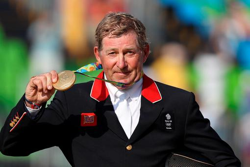 Great Britain's Nick Skelton took gold medal on Big Star in the individual showjumping at the Olympic Equestrian Centre. Pic: Owen Humphreys/PA Wire. EDITORIAL USE ONLY