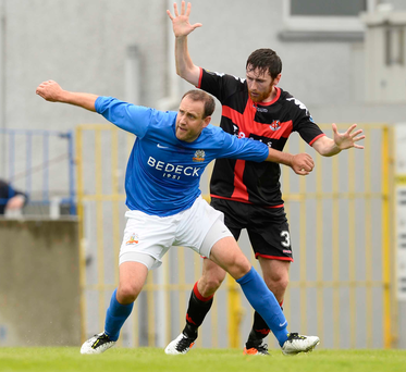 Old boy: Howard Beverland (right) will make his first return to Coleraine as a Crusaders player today