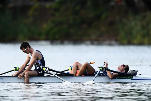 Despair: Richard Chambers (left) was left dejected in Rio