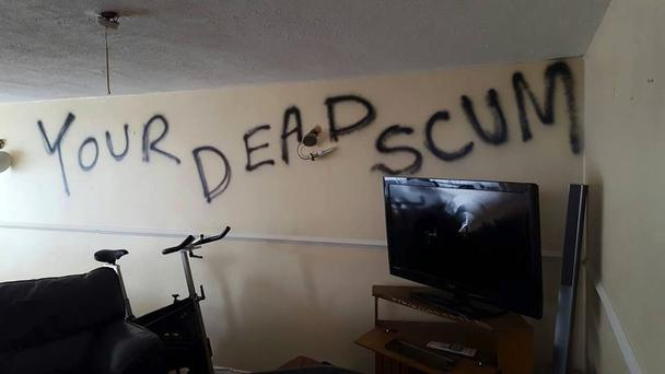 The sinister message which greeted the family.