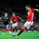 Manchester United's Zlatan Ibrahimovic scores his side's second goal of the game from the penalty spot during the Premier League match at Old Trafford, Manchester. Pic: Nick Potts/PA Wire.
