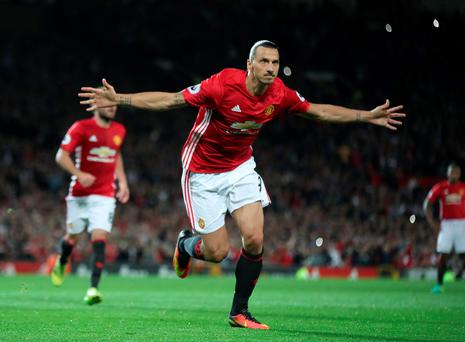 Manchester United's Zlatan Ibrahimovic celebrates scoring his side's second goal of the game from the penalty spot during the Premier League match at Old Trafford, Manchester. PRESS ASSOCIATION Photo. Picture date: Friday August 19, 2016. See PA story SOCCER Man Utd. Photo credit should read: Nick Potts/PA Wire. RESTRICTIONS: EDITORIAL USE ONLY No use with unauthorised audio, video, data, fixture lists, club/league logos or