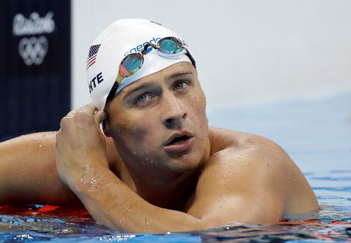 Troubled waters: Ryan Lochte. Picture: AP Photo/Michael Sohn