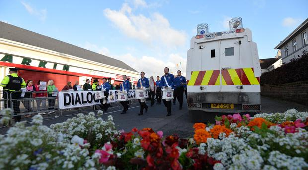 A parade hosted by Ballymaconnelly Sons of Conquerors, passes threw Rasharkin Main Street on Friday evening. Pic Colm Lenaghan/Pacemaker