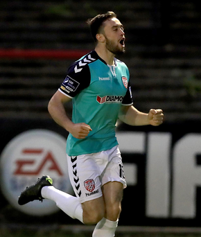 Cup kings: Nathan Boyle hits Derry City's second goal