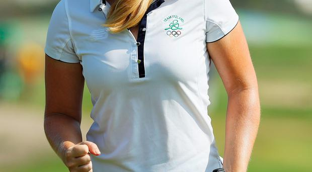 Focused: Stephanie Meadow on her way to a level-par 71 yesterday