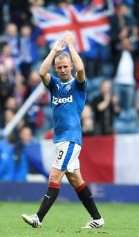Kenny Miller celebrates scoring the winner for Rangers against Motherwell on Saturday