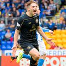 On target: James Forrest nets for the Hoops at McDiarmid Park