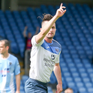 Victory march: Gareth Tommons celebrates hitting Ards' late winner