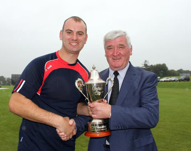 Cup glory: Andy Britton with North West president Connie McAllister