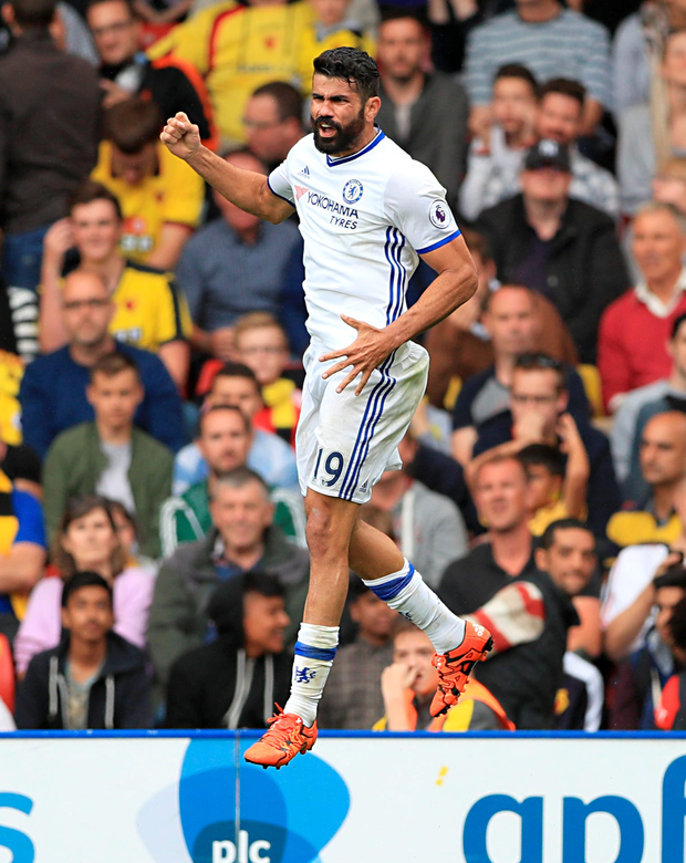 Call to arms: Diego Costa celebrates after he scored his side's winning goal against Watford