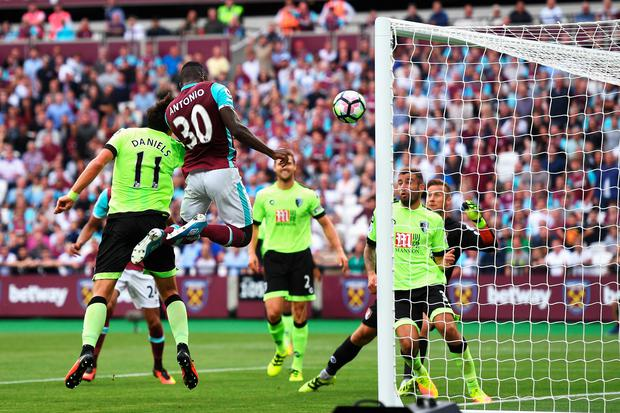 Head boy: Michail Antonio scores West Ham's late winner