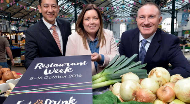 Jorge Lopes from Diageo NI, Belfast City councillor Deirdre Hargey and Gerry Lennon from Visit Belfast launch Eat & Drink Belfast Restaurant Week, which takes place from October 8 to October 16