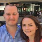 Kevin Carey with his wife Natasha outside th Macmillan Cancer Centre, University College London Hospital. Photo: GoFundMe