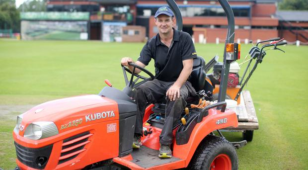 On a roll: Philip McCormick gets the pitch ready for action at Stormont