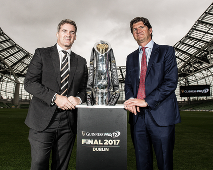 Ambitious plans: At the launch of the Guinness PRO12 season at the Aviva, Martin Anayi (left), MD PRO12 Rugby, and Oliver Loomes, Country Director Diageo Ireland, are eyeing expansion