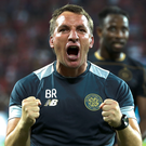 Euro joy: Brendan Rodgers at the moment of victory last night