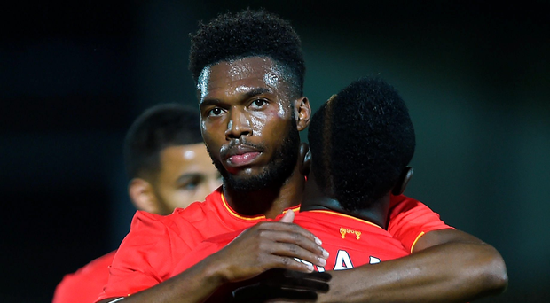 Super sub: Substitute Daniel Sturridge after scoring Liverpool's fifth goal and his second
