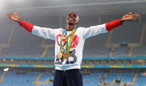 Farah at the double: no, not a fashionable pair of slacks and blazer combo, rather a pair of golds for Mo Farah, or Sir Mo as he is certain to become