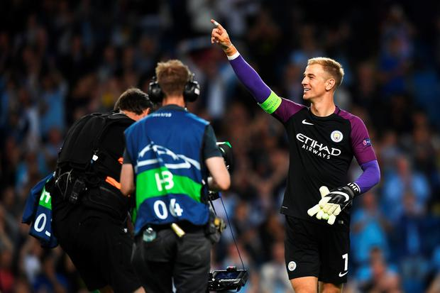 MANCHESTER, ENGLAND - AUGUST 24: Joe Hart of Manchester City acknowledges the fans after the UEFA Champions League Play-off Second Leg match between Manchester City and Steaua Bucharest at Etihad Stadium on August 24, 2016 in Manchester, England. (Photo by Michael Regan/Getty Images)