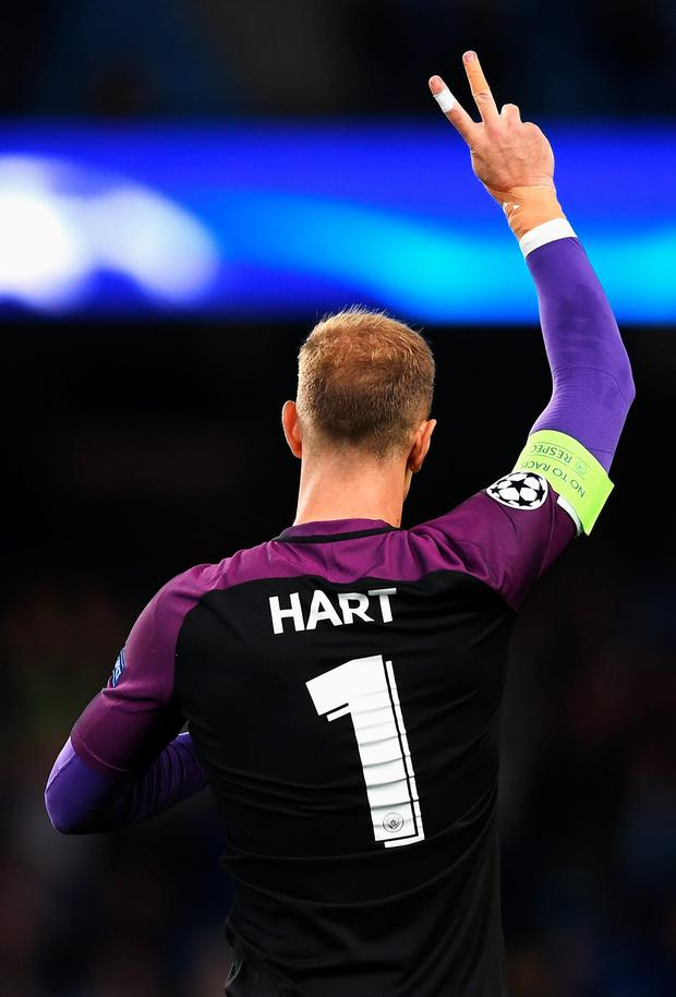 MANCHESTER, ENGLAND - AUGUST 24: Joe Hart of Manchester City waves to fans after the UEFA Champions League Play-off Second Leg match between Manchester City and Steaua Bucharest at Etihad Stadium on August 24, 2016 in Manchester, England. (Photo by Michael Regan/Getty Images)