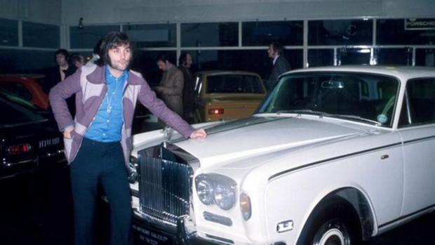 George Best photographed with his new purchase of the Rolls-Royce Silver Shadow on December 4 1972.