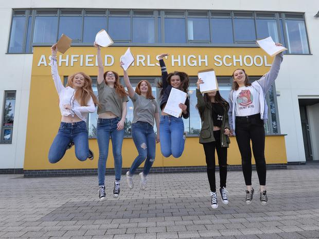 Students from Ashfield Girls School get their GCSE results. Pupils in Northern Ireland have outperformed those in the rest of the UK in terms of A*-C grades at GCSE. About 30,000 local students received their 2016 exam results on Thursday. Photo Colm Lenaghan/Pacemaker Press