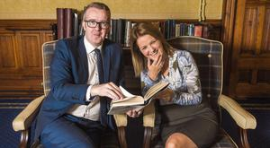 David Meade and Laura Jackson; Partner at BDO Northern Ireland at the launch of the Belfast Book Review