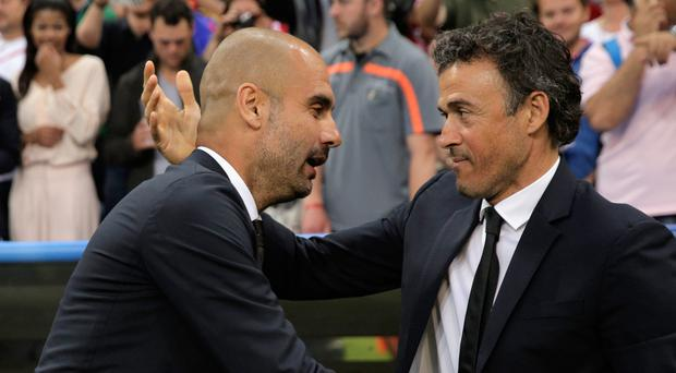 Familiar face: Pep Guardiola will come up against Luis Enrique, who succeeded him at Barcelona, for the first time since the 2013-14 season