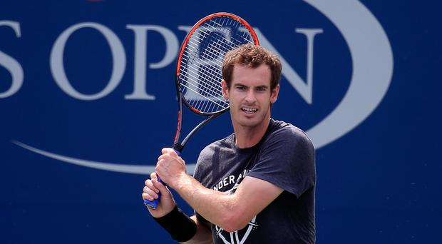 Big hit: Andy Murray trains ahead of the beginning of his US Open bid at Flushing Meadows, where he will meet old rival Lukas Rosol in the first round