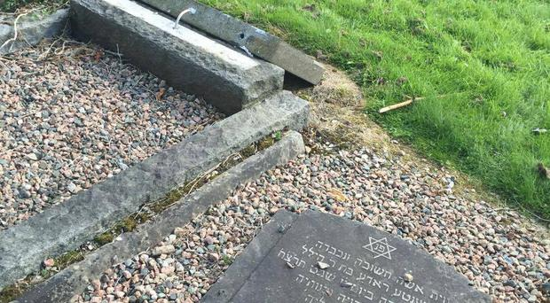 Jewish graves damaged at Belfast City Cemetery. Pic Steven Corr