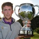 Galway boy: Neil McKinstry (Cairndhu & Ulster) with the 2016 Irish Youths Championship trophy after his victory at Galway Golf Club