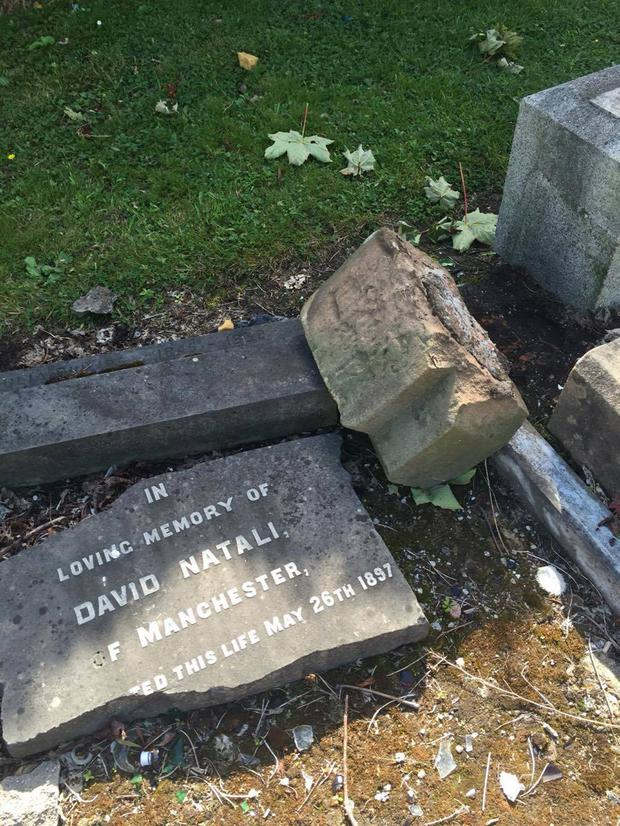 One of the Jewish graves which was desecrated in Belfast City Cemetery