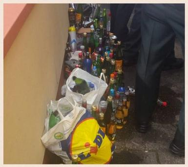 A picture released by the PSNI showing some of the alcohol they seized